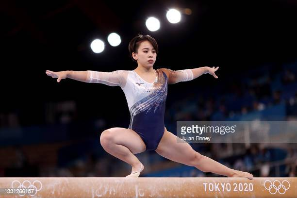 Mai Murakami of Team Japan competes on balance beam during the Women's All-Around Final on day six of the Tokyo 2020 Olympic Games at Ariake...