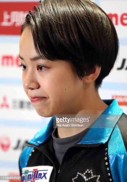 Mai Murakami speaks to media reporters after day one of the Artistic Gymnastics NHK Trophy at Musashino Forest Sport Plaza on May 18 2019 in Chofu...