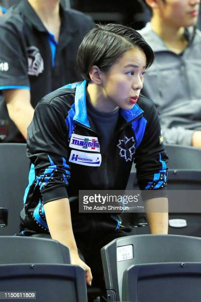 Mai Murakami watches from a stand on day one of the Artistic Gymnastics NHK Trophy at Musashino Forest Sport Plaza on May 18 2019 in Chofu Tokyo Japan