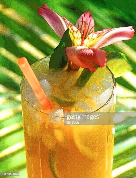 mai tai cocktail with straw and edible flower in tropical setting - mai tai fotografías e imágenes de stock