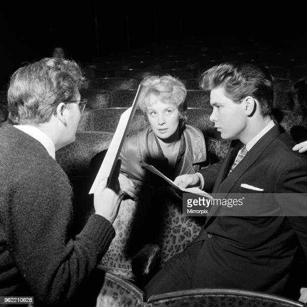 Mai Zetterling and Cliff Richard go over their scripts at the rehearsals of the Royal Film Performance at the Odeon, 27th March 1960.