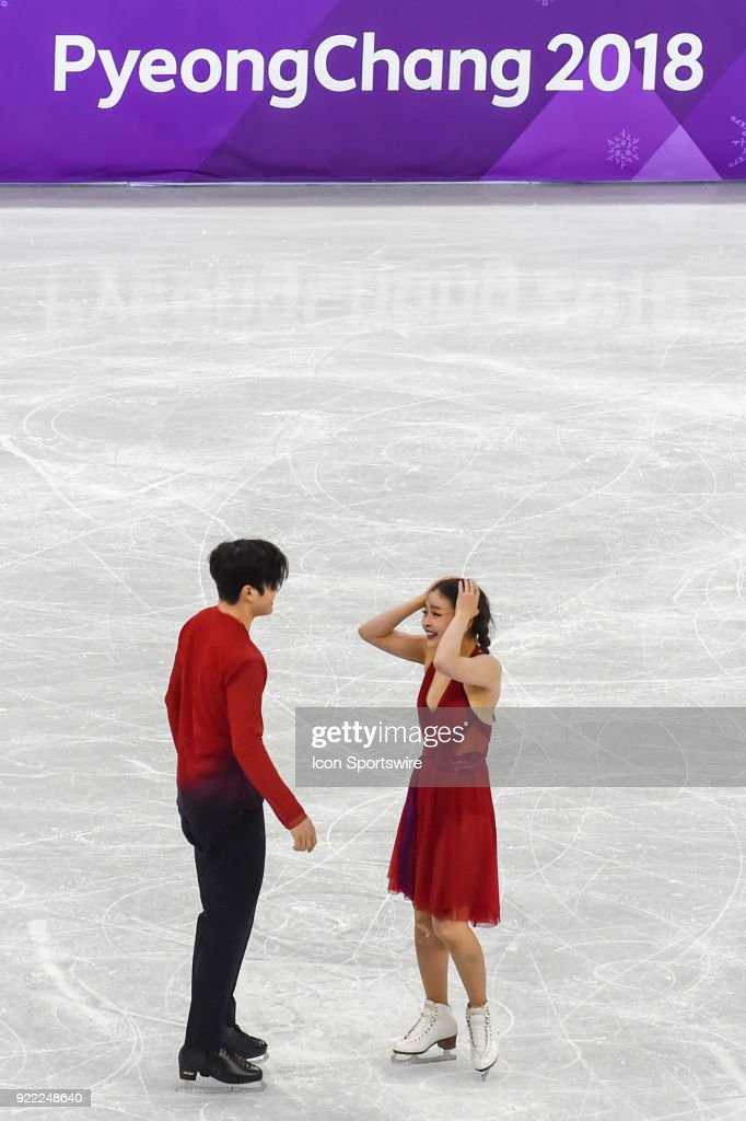 Maia and Alex Shibutani (USA) celebrate a bronze medal performance in Ice Dancing during the 2018 Winter Olympic Games at the Gangneung Ice Arena on February 20, 2018 in PyeongChang, South Korea.