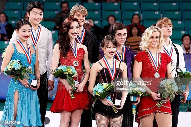 Maia and Alex Shibutani Meryl Davis and Charlie White Madison Chock and Greg Zuerlein Madison and Keiffer Hubbell pose for photographers on the...