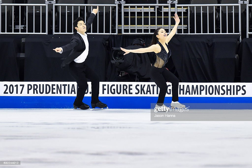 Maia and Alex Shibutani skate during their Short Dance program on Day 2 at the 2017 US Figure Skating Championships on January 20, 2017 at the Sprint Center in Kansas City, Missouri.
