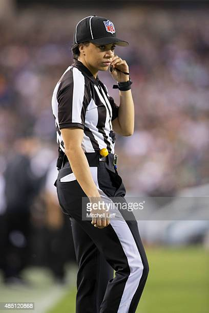 Maia Chaka officiates the game between the Baltimore Ravens and Philadelphia Eagles on August 22 2015 at Lincoln Financial Field in Philadelphia...