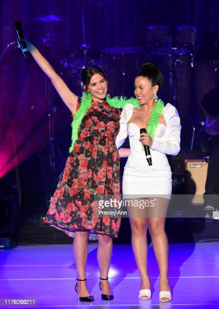 Maia Mitchell and Cierra Ramirez speak onstage during Los Angeles LGBT Center Celebrates 50th Anniversary With Hearts Of Gold Concert Multimedia...