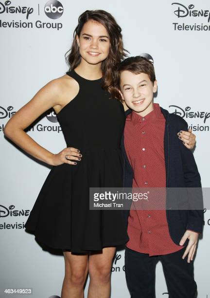 Maia Mitchell and Hayden Byerly arrive at the ABC/Disney 2014 Winter TCA party held at The Langham Huntington Hotel and Spa on January 17 2014 in...