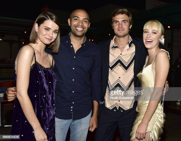 Maia Mitchell Director Elijah Bynum Alex Roe and Maika Monroe pose for portrait at the screening of A24's 'Hot Summer Nights' afterparty on July 11...