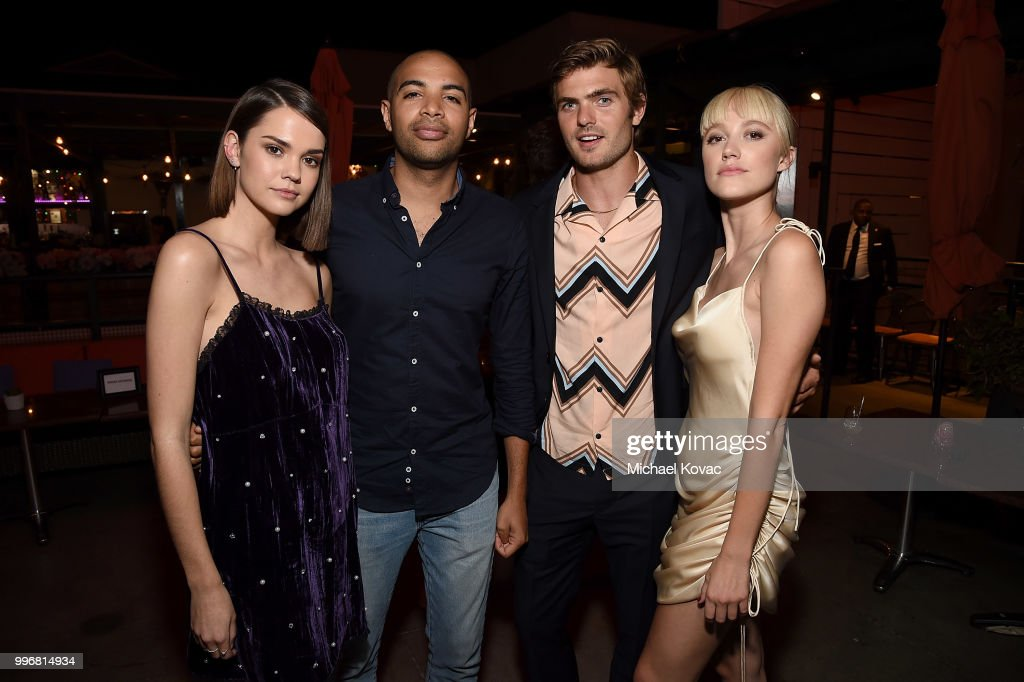 Maia Mitchell, Elijah Bynum, Alex Roe, and Maika Monroe attend the after party for the Los Angeles Special Screening of 'Hot Summer Nights' on July 11, 2018 in Los Angeles, California.