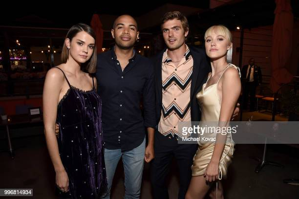 Maia Mitchell Elijah Bynum Alex Roe and Maika Monroe attend the after party for the Los Angeles Special Screening of 'Hot Summer Nights' on July 11...