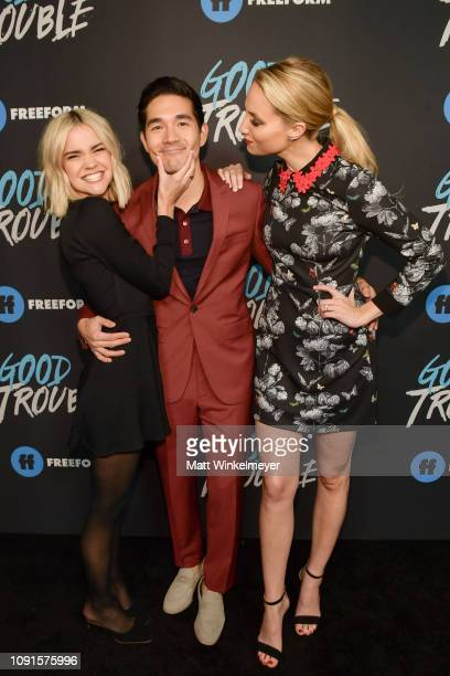 Maia Mitchell Ken Kirby and Molly McCook attends the premiere of Freeform's Good Trouble at Palace Theatre on January 08 2019 in Los Angeles...