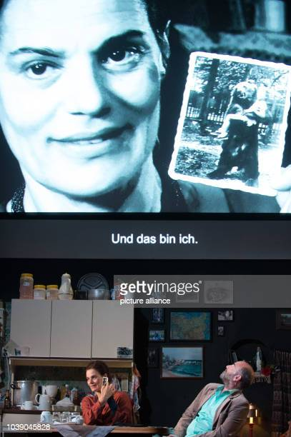 Maia Morgenstern and Akillas Karazissis rehearsing a scene from the play 'Empire' at the Schaubuehne theatre in Berlin Germany 7 September 2016 The...