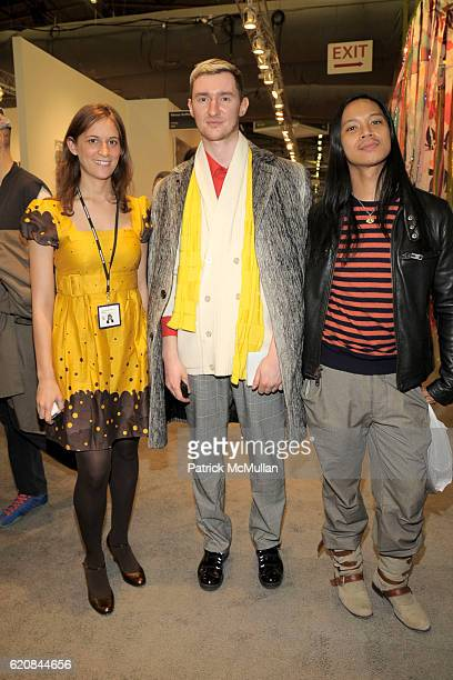 Maia Morgenstern Dmitry Komis and Zaldy attend The ARMORY SHOW 2008 Preview at Pier 94 on March 26 2008 in New York City