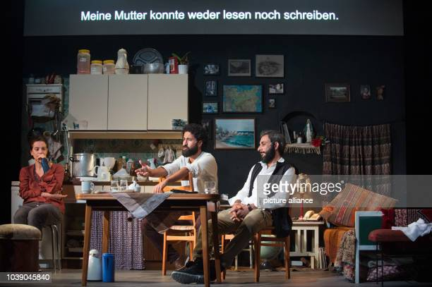 Maia Morgenstern Rami Khalaf and Ramo Ali rehearsing a scene from the play 'Empire' at the Schaubuehne theatre in Berlin Germany 7 September 2016 The...