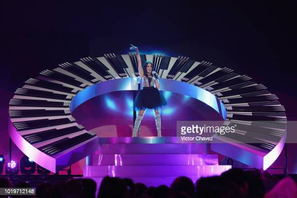 Maia Reficco of Kally's Mashup performs on stage during the Nickelodeon Kids' Choice Awards Mexico 2018 at Auditorio Nacional on August 19 2018 in...