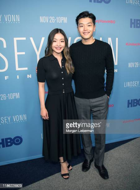 Maia Shibutani and Alex Shibutani arrive at the premiere of HBO's Lindsey Vonn The Final Season at Writers Guild Theater on November 07 2019 in...