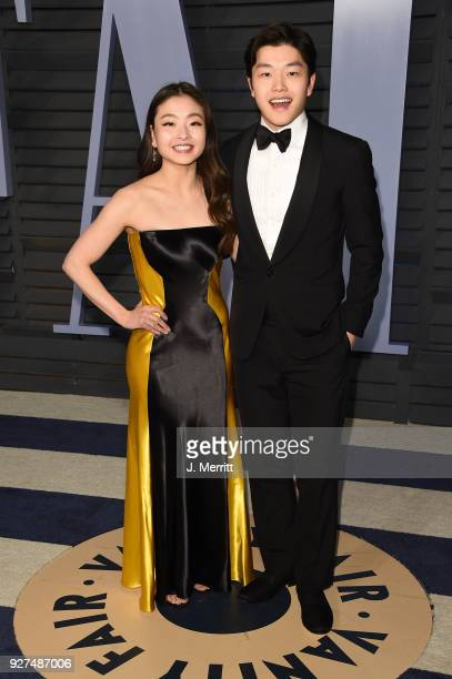 Maia Shibutani and Alex Shibutani attend the 2018 Vanity Fair Oscar Party hosted by Radhika Jones at the Wallis Annenberg Center for the Performing...