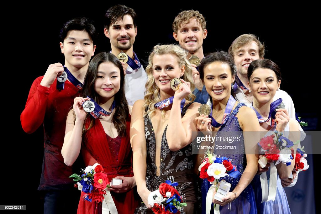 Maia Shibutani and Alex Shibutani, Madison Hubbell and Zachary Donohue, Madison Chock and Evan Bates, Kaitlin Hawayek and Jean-Luc Baker pose for photographers after the medal ceremony for the Championship Dance during the 2018 Prudential U.S. Figure Skating Championships at the SAP Center on January 7, 2018 in San Jose, California.