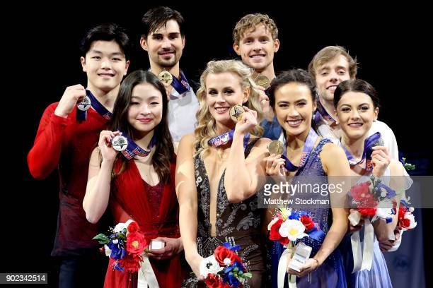 Maia Shibutani and Alex Shibutani Madison Hubbell and Zachary Donohue Madison Chock and Evan Bates Kaitlin Hawayek and JeanLuc Baker pose for...