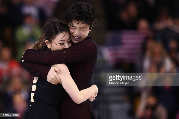 Maia Shibutani and Alex Shibutani of the United States celebrate after the completion of their Free Dance Program during Day 4 of the ISU World...