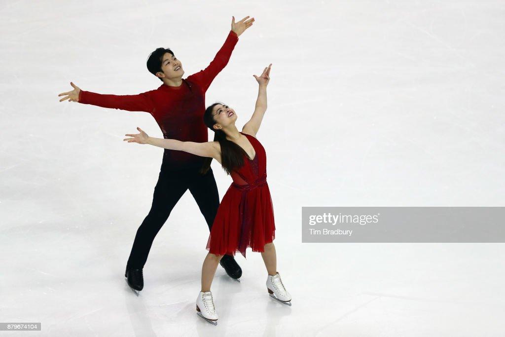 Maia Shibutani and Alex Shibutani of the United States compete in the Ice Dance Free Dance during day three of 2017 Bridgestone Skate America at Herb Brooks Arena on November 26, 2017 in Lake Placid, New York.