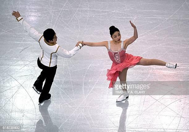 Maia Shibutani and Alex Shibutani of the United States during Ice Dance Short Dance competition at the ISU World Figure Skating Championships at TD...