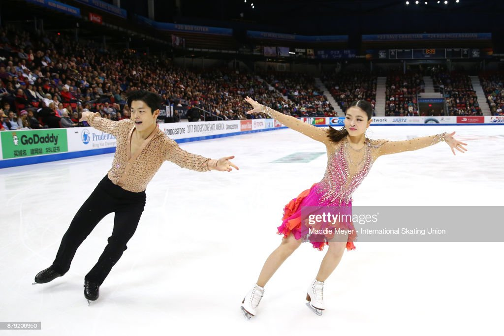 Maia Shibutani and Alex Shibutani of the United States perform in the Ice Dance short program on Day 2 of the ISU Grand Prix of Figure Skating at Herb Brooks Arena on November 25, 2017 in Lake Placid, United States.