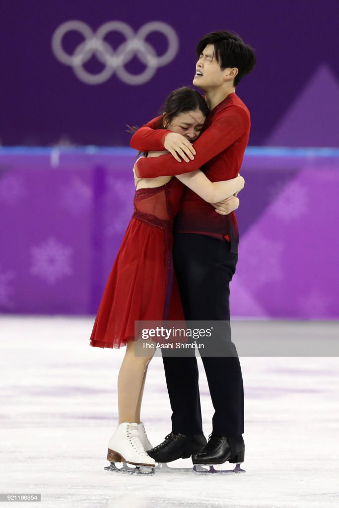 Maia Shibutani and Alex Shibutani of the United States react after competing in the Figure Skating Ice Dance Free Dance on day eleven of the PyeongChang Winter Olympic Games at Gangneung Ice Arena on February 20, 2018 in Gangneung, South Korea.