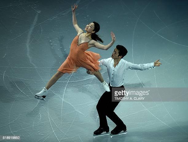 Maia Shibutani and Alex Shibutani of the United States skate during the Exhibition of Champions program at the ISU World Figure Skating Championships...