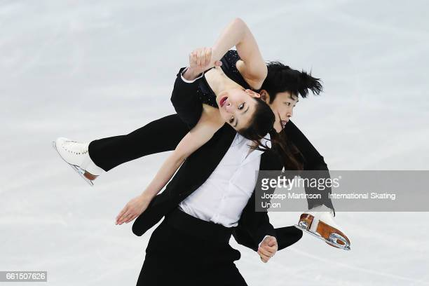 Maia Shibutani and Alex Shibutani of United States compete in the Ice Dance Short Dance during day three of the World Figure Skating Championships at...