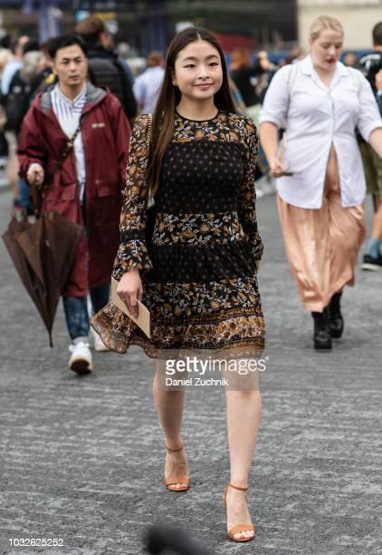 Maia Shibutani is seen wearing a Michael Kors dress outside the Michael Kors show during New York Fashion Week Women's S/S 2019 on September 12 2018...