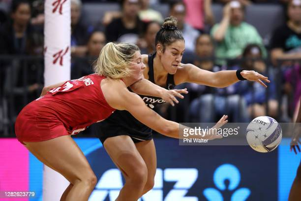 Maia Wilson of New Zealand and Francesca Williams of England contest the game during game 1 of the Cadbury Netball Series between the New Zealand...