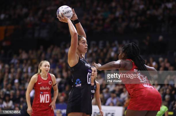 Maia Wilson of New Zealand shoots during game 1 of the Cadbury Netball Series between the New Zealand Silver Ferns and the England Roses at...