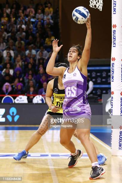 Maia Wilson of the Stars receives a pass during the ANZ Premiership Netball Final between the Pulse and the Stars at Te Rauparaha Arena on June 03...