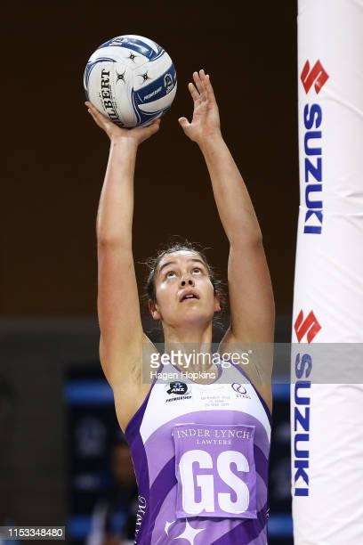 Maia Wilson of the Stars shoots during the ANZ Premiership Netball Final between the Pulse and the Stars at Te Rauparaha Arena on June 03 2019 in...