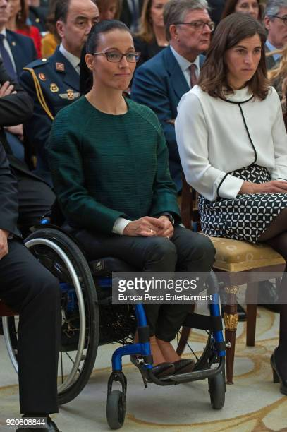 Maialen Chourraut and Teresa Perales attend the National Sports Awards at El Pardo Palace on February 19 2018 in Madrid Spain