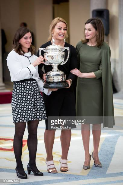 Maialen Chourraut Lidia Valentin and Queen Letizia of Spain attend the National Sports Awards ceremony at El Pardo Palace on February 19 2018 in...