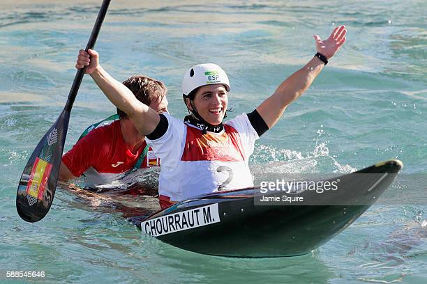 Maialen Chourraut of Spain celebrates winning gold medal after the Women's Kayak Final on Day 6 of the Rio 2016 Olympics at Whitewater Stadium on...