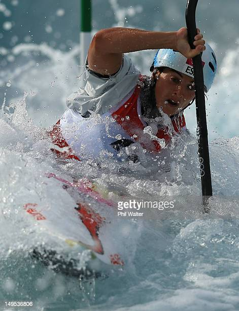 Maialen Chourraut of Spain competes during the Womens Kayak Single Slalom heats on Day 3 of the London 2012 Olympic Games at Lee Valley White Water...