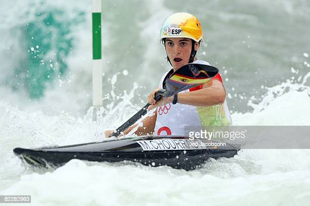 Maialen Chourraut of Spain competes in the canoe/kayak slalom event at the Shunyi Olympic Rowing-Canoeing Park during Day 5 of the Beijing 2008...