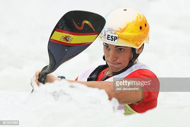 Maialen Chourraut of Spain competes in the canoe/kayak slalom event at the Shunyi Olympic RowingCanoeing Park during Day 5 of the Beijing 2008...