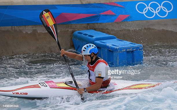 Maialen Chourraut of Spain competes in the Women's Kayak Single Slalom on Day 6 of the London 2012 Olympic Games at Lee Valley White Water Centre on...