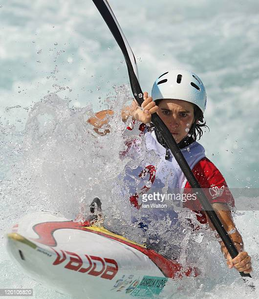 Maialen Chourraut of Spain in action on the K1 Kayak Slalom at Lee Valley White Water Centre on July 30 2011 in London England