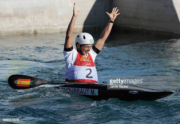 Maialen Chourraut of Spain reacts after crossing the finish line during the Women's Kayak Final on Day 6 of the Rio 2016 Olympics at Whitewater...