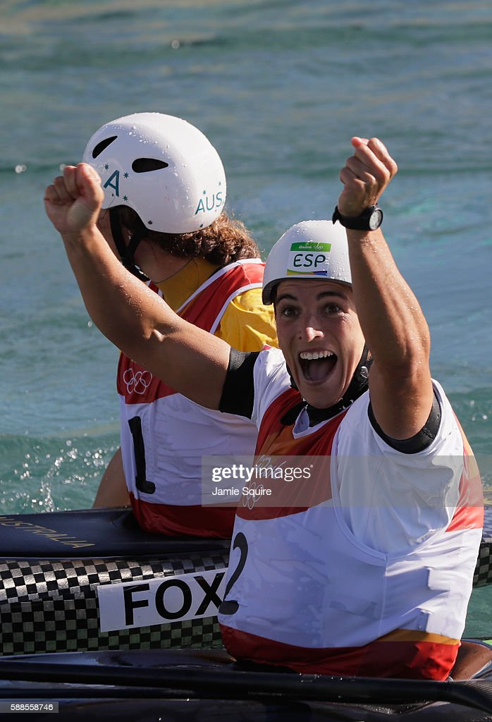 Maialen Chourraut of Spain reacts after crossing the finish line during the Women's Kayak (K1) Final on Day 6 of the Rio 2016 Olympics at Whitewater Stadium on August 11, 2016 in Rio de Janeiro, Brazil.