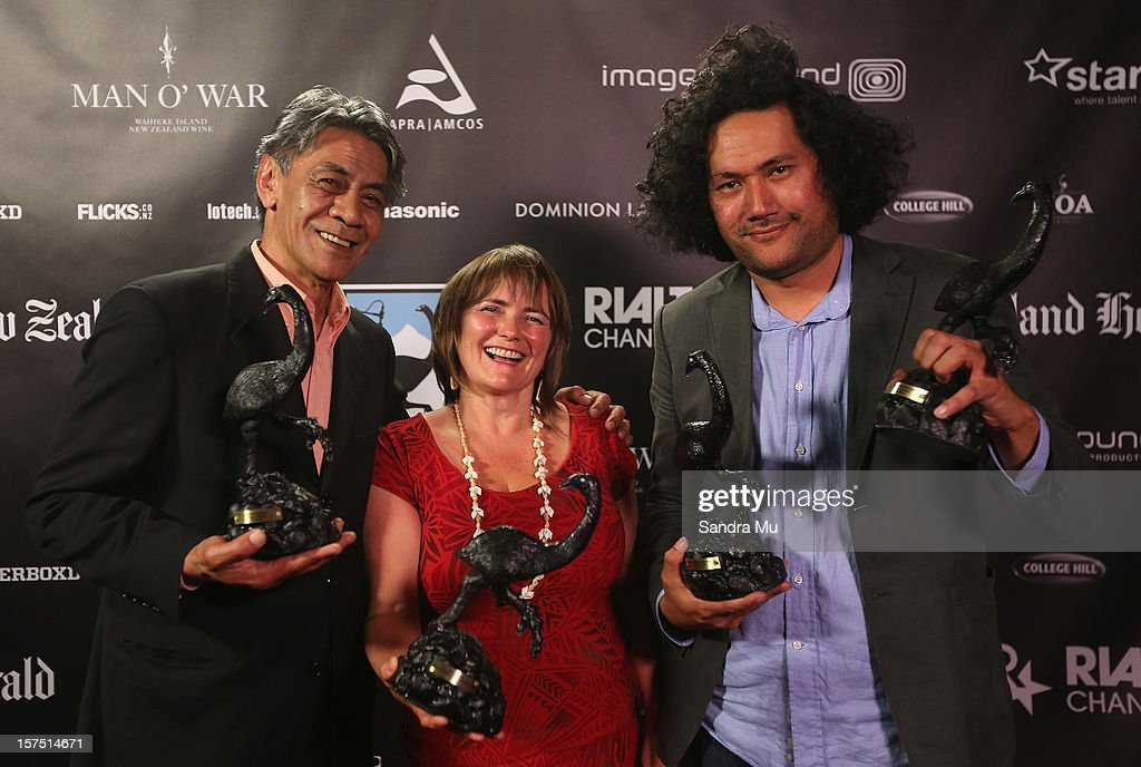 Maiava Nathaniel Lees (L), Catherine Fitzgerald and Tusi Tamasese of Orator pose with their awards during the MOA 'Unofficial' New Zealand Film Awards at The Civic on December 4, 2012 in Auckland, New Zealand.