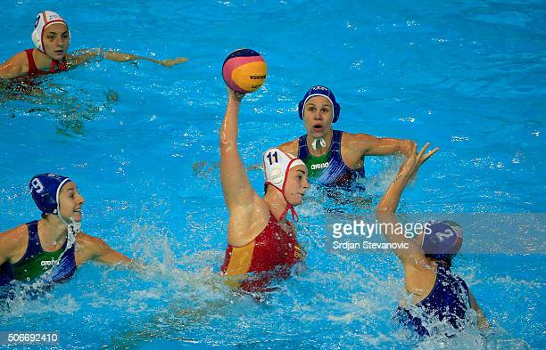 Maica Garcia of Spain in action against Chiara Tabani and Giulia Enrica Emmolo of Italy during the Women's Bronze Medal match between Spain and Italy...