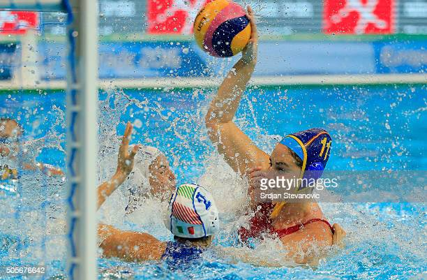 Maica Garsia of Spain in action against Chiara Tabani of Italy during the Women's Preliminary Group B match between Italy and Spain at the Waterpolo...