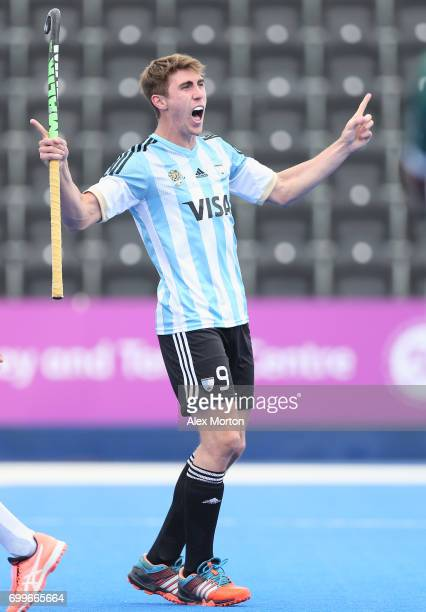 Maico Casella of Argentina celebrates scoring his teams third goal during the quarter final match between Argentina and Pakistan on day seven of the...