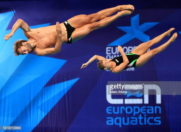 Maicol Verzotto and Elena Bertocchi of Italy compete in the Mixed Synchronised 3m Springboard final during the diving on Day seven of the European...